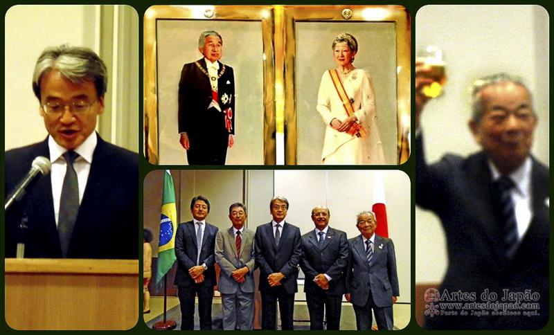 Saudação, brinde. Líderes das entidades japonesas.  (Foto: Teruko Okagawa Monteiro)